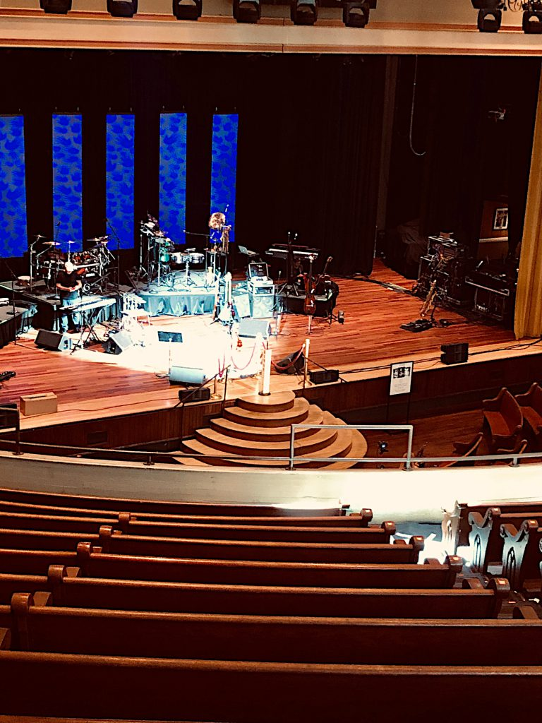 """Yes"" setting up at the Ryman Auditorium"