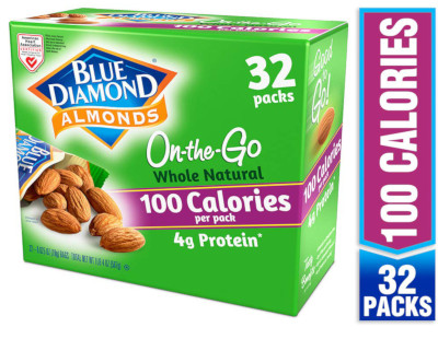 32 individual packs of almonds 100 calories with 4g of protein per pack.