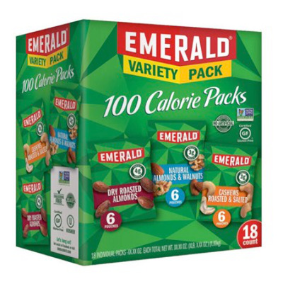 18 variety packs of Almonds, Cashews and Walnuts in snack size pouches.