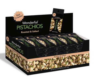24 individual 1.5 oz pack roasted and salted pistachios.