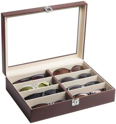 Eyeglasses or Sunglasses covered storage case for 8 pair.