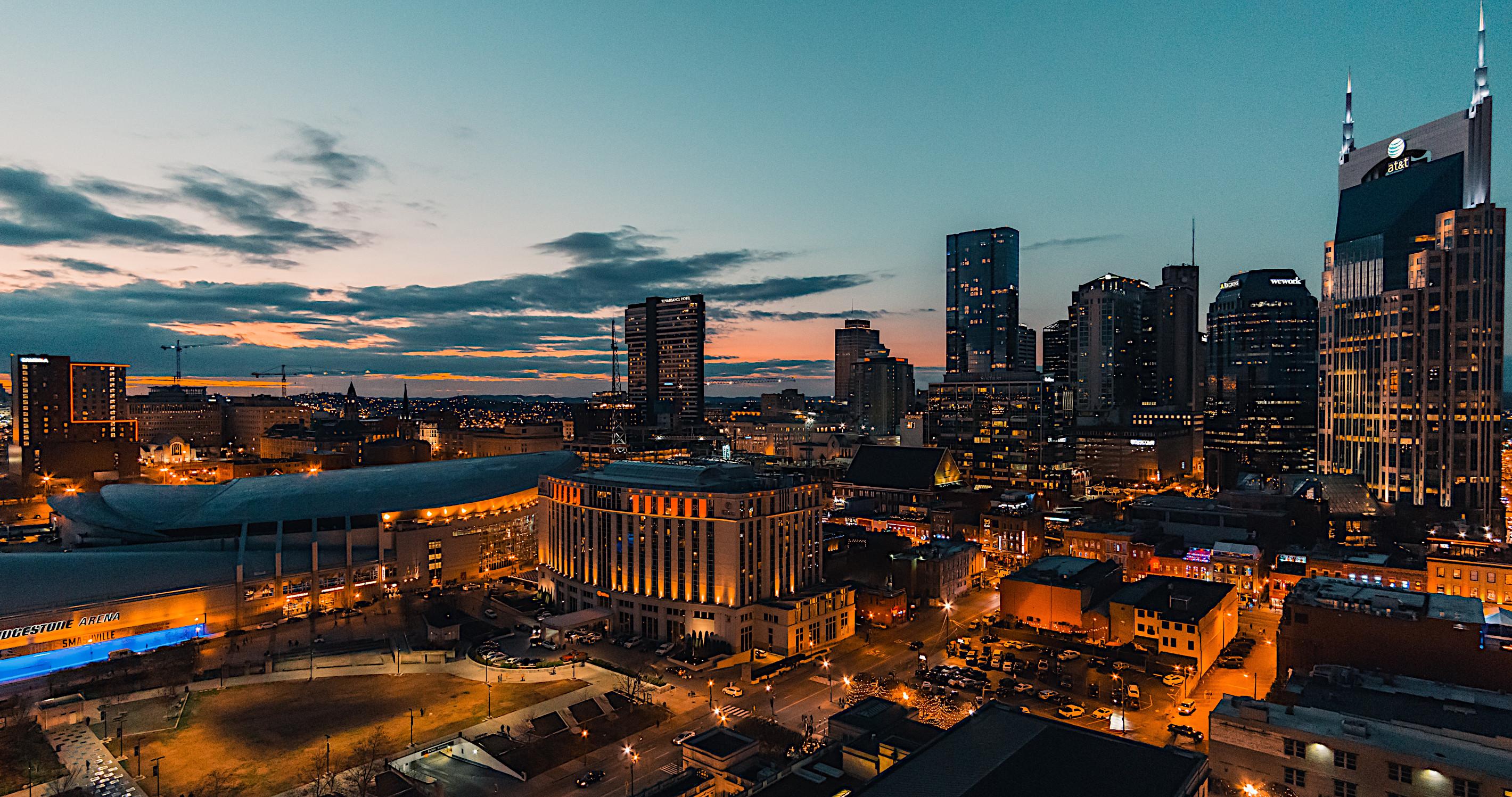 The Nashville skyline by night