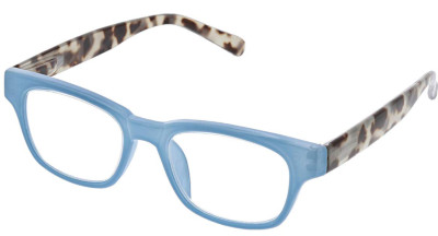 Women's blue light filtering reading glasses with anti-scratch lens.