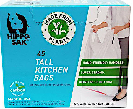 Use Hippo Sak compostable trash bags
