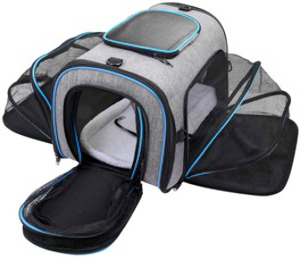 Expandable pet carrier, easy to carry and clean with maximum air circulation.