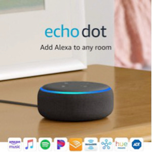 Most popular echo speaker, with Alexa support, voice controls for security, lights, music and more.