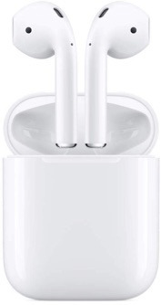Apple AirPods with protective charging case.