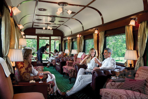 Luxury Train Travel: Socializing on the Cape Town - Rovos Rail lounge