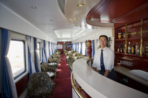 A visit to the bar car on the Shangri-La Express