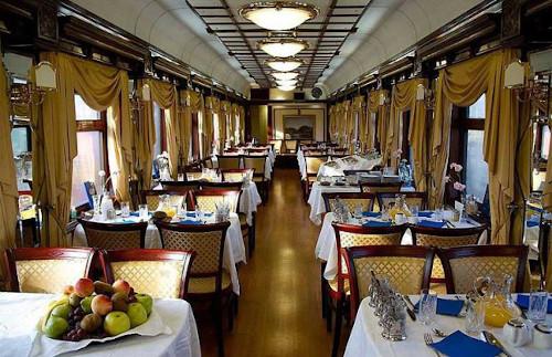 Inside the Trans-Siberian dining car