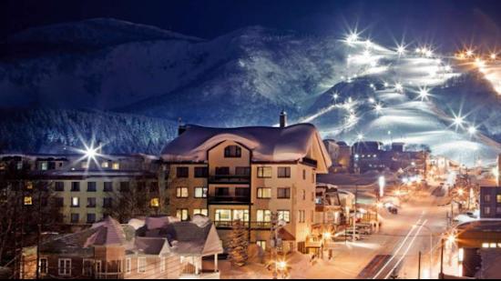 The ski resort at Niseko in Hokkaido Japan by night