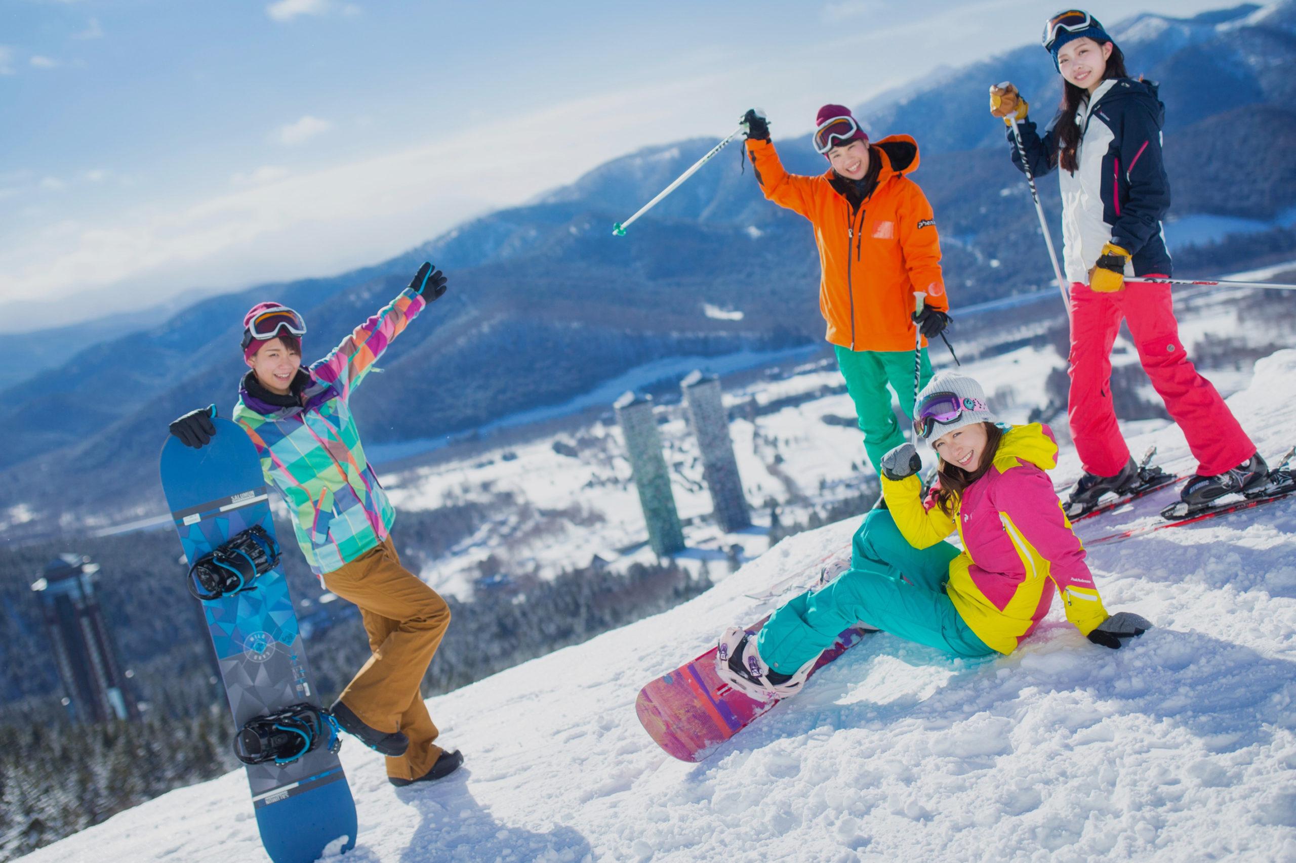 A sunny ski day at a Ski resort in Japan