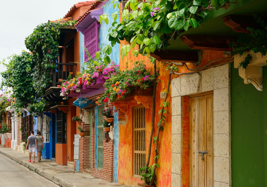 Colorful homes in Cartagena, Colombia