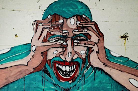 fake social media, angry man painting