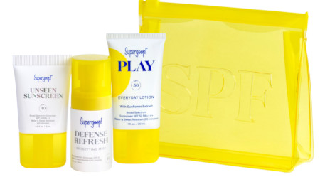 Travel size set of 3 sunscreen products with cute yellow carry pouch.