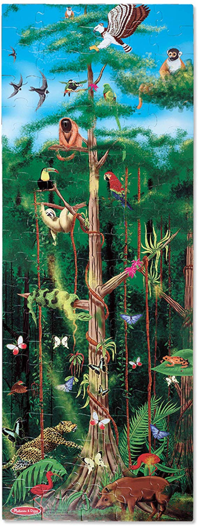 "Melissa & Doug Rainforest Floor Puzzle with an easy to clean surface, can help promotes hand-eye coordination, 100 Pieces, 48"" x 18"", good gift."