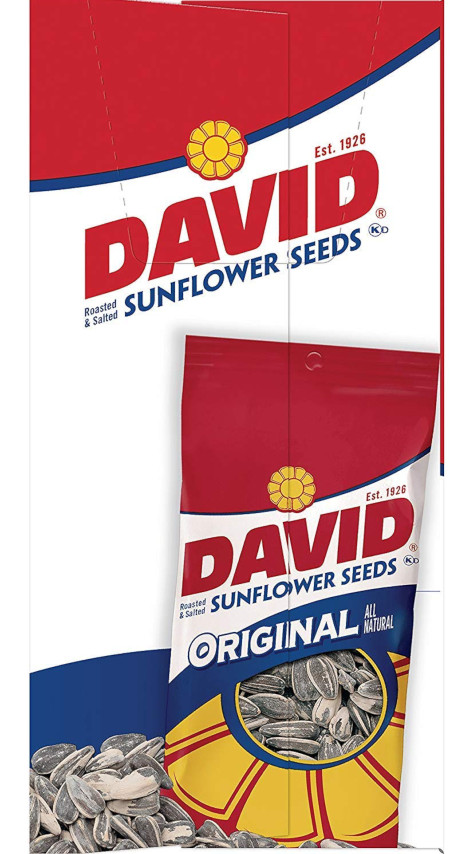 Twelve 1.625 oz bags of DAVID Original Sunflower Seeds, great for snacking.
