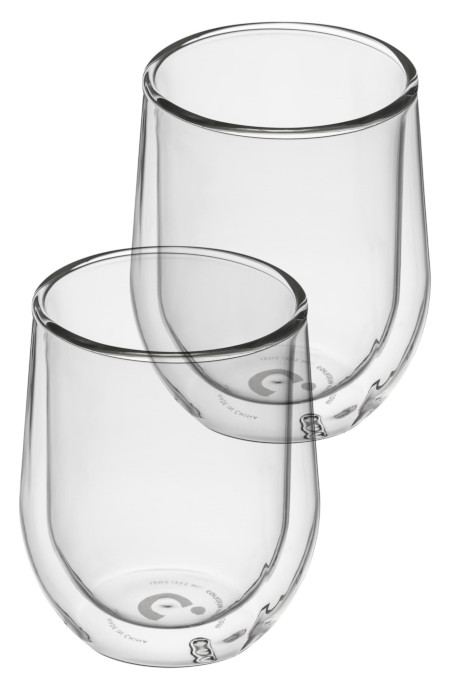 2 BPA free stemless glasses for hot and cold.