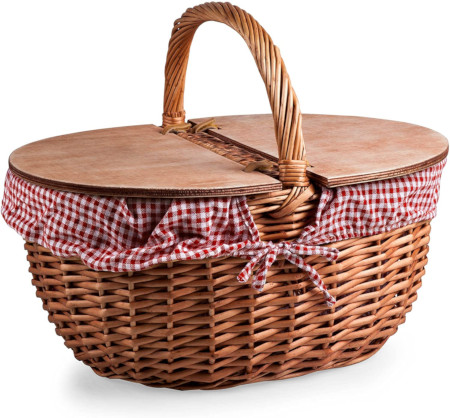 Classic lined picnic basket add whatever you need for dining in the park.