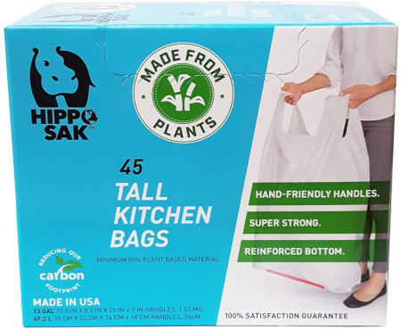 45 plant based trash bags for kitchen or anywhere in the house.