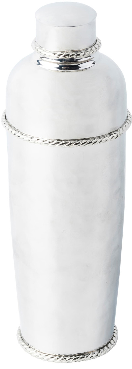 Classic elegance of a hammered 20 oz stainless-steel cocktail shaker trimmed in a signature thread motif.