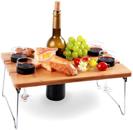 Wine glass caddy for your outdoor dining.