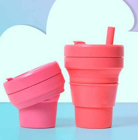 Variety of colors of cups that will shrink down and fit in purse or pocket..