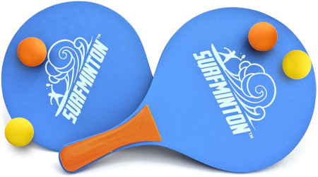 2 paddles and balls for play outdoors.