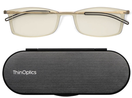 Computer glasses to reduce eye strain from blue-light-emitting devices, such as phones, tablets or computers.