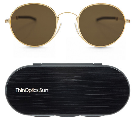 Stylish uni-sex sunglasses thin enough to keep in your pocket.