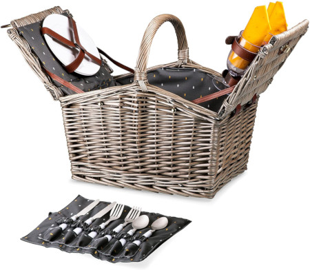 Top opening basket includes all the serving pieces needed.