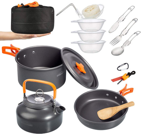 15 pc set for easy packing and storage for campers.