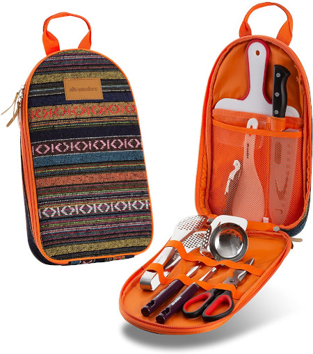 Self contained kit of all the kitchen utensils for cooking and camping.