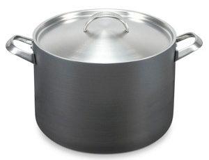 Non-stick Stockpot with silver tone lid.
