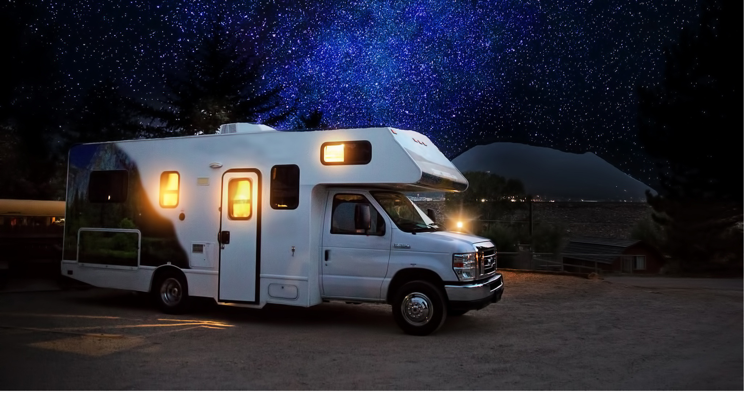 Renting an RV for a road trip. night stars