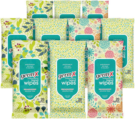 Travel size pouches to kill germs on hands or areas near you.