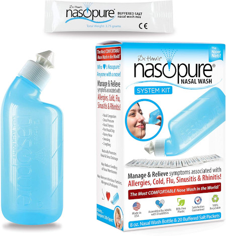 Portable nasal wash system to clean out allergy or dust related irritants.