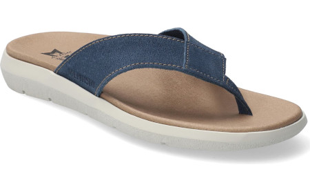 Shock absorbing sole and leather uppers for summer comfort.