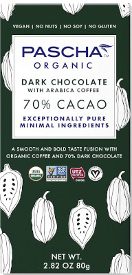 Nut free, soy free, gluten free, dairy free, plant based chocolate.