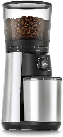 Large burr style grinder for fresh coffee or chicory beans.