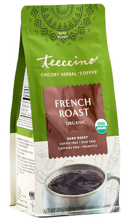 Caffeine free, herbal substitute for everyday ground coffee.