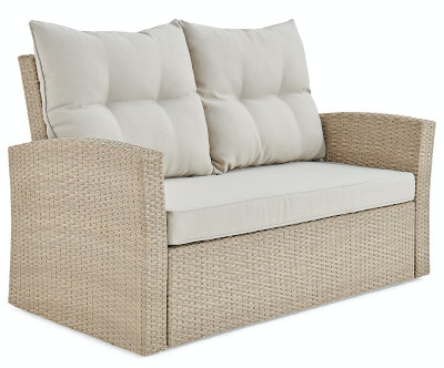 Beige and tan wicker resin on aluminum frame seating for 2.