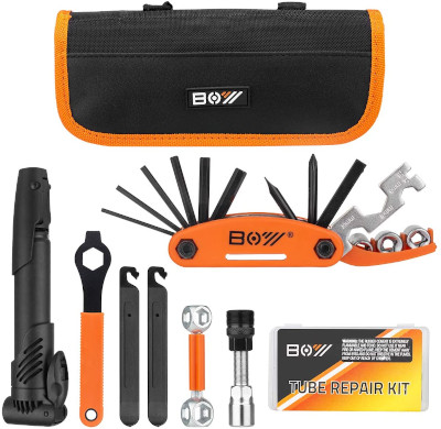 Complete kit with bag, pump, tools and tire repair supplies.