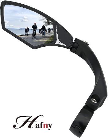 Easily adjustable mirror for bike handlebar.