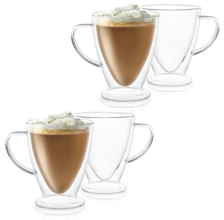 Contemporary double walled mugs for coffee or any hot or cold drink.
