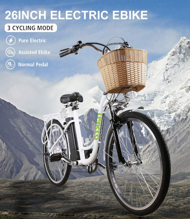 26 inch step thru electric bike for easy city riding.
