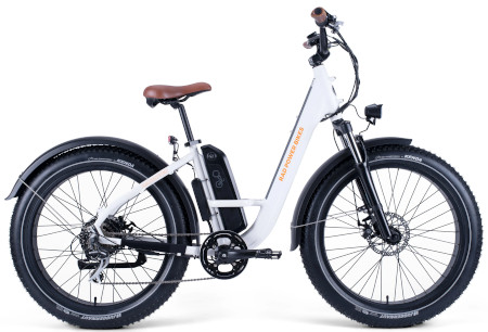 Model comes in black or white with fat tires.