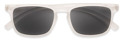 Stylish white sunglasses with any level of readers magnification.